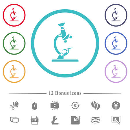 Microscope flat color icons in circle shape outlines. 12 bonus icons included.