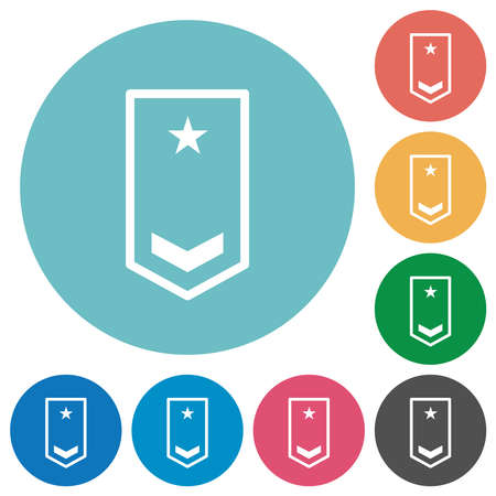 Military insignia with one chevron and one star flat white icons on round color backgrounds