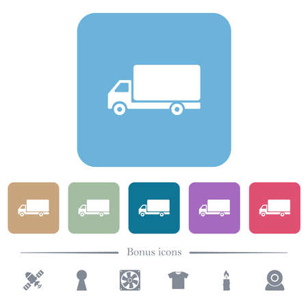 Freight car white flat icons on color rounded square backgrounds. 6 bonus icons included 矢量图像