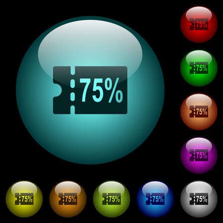 75 percent discount coupon icons in color illuminated spherical glass buttons on black background. Can be used to black or dark templates 矢量图像