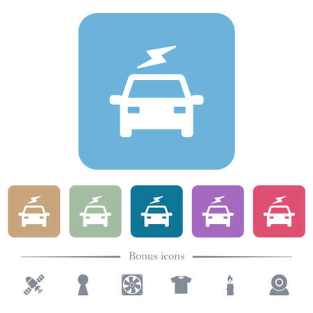 Electric car with flash white flat icons on color rounded square backgrounds. 6 bonus icons included