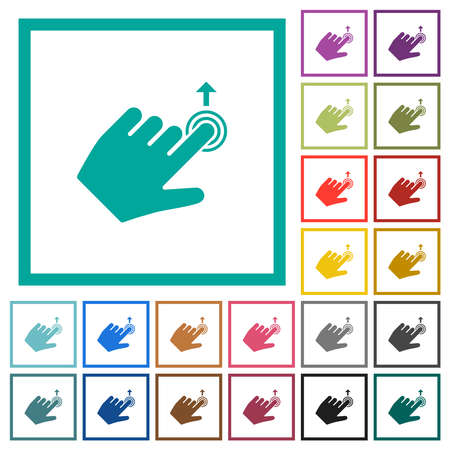 Left handed slide up gesture flat color icons with quadrant frames on white background