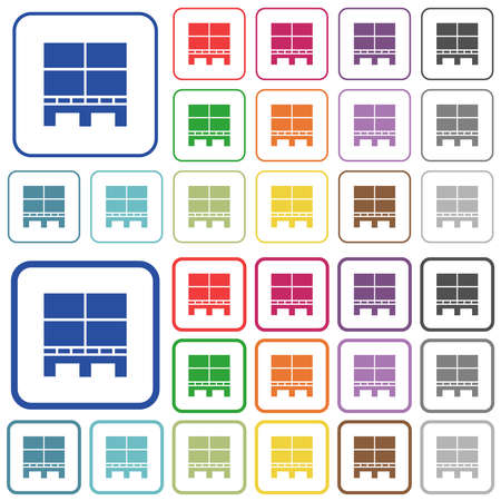 Pallet with boxes color flat icons in rounded square frames. Thin and thick versions included.