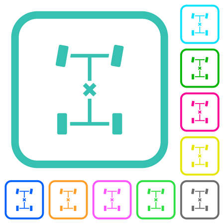 Central differential lock vivid colored flat icons in curved borders on white background