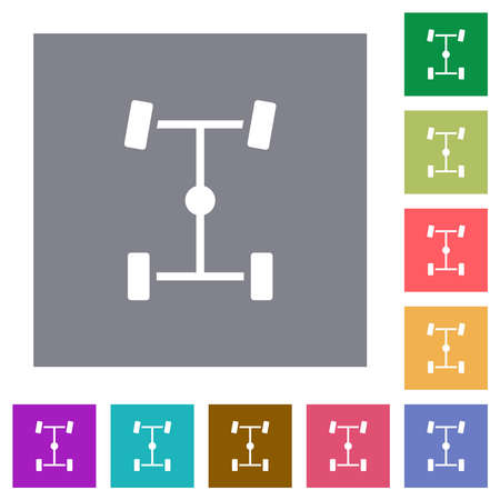 Central differential flat icons on simple color square backgrounds Vector Illustration
