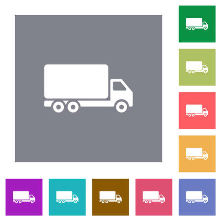 Freight car flat icons on simple color square backgrounds