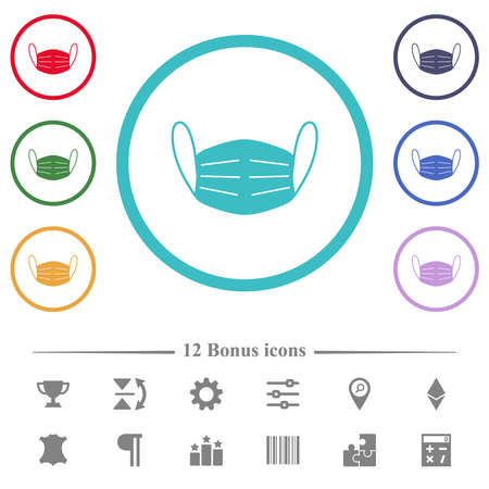 Medical face mask flat color icons in circle shape outlines. 12 bonus icons included.