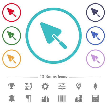 Trowel flat color icons in circle shape outlines. 12 bonus icons included. Ilustrace