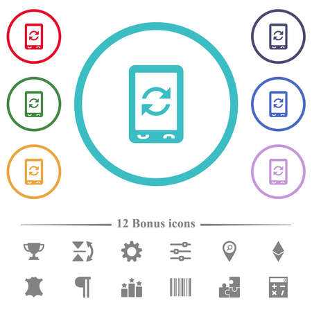 Mobile sync synchronize flat color icons in circle shape outlines. 12 bonus icons included. Ilustrace