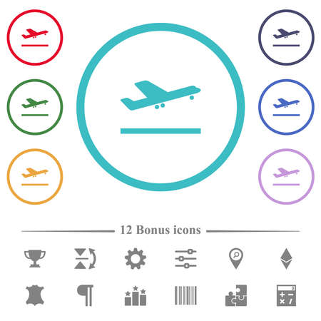 Airplane take off flat color icons in circle shape outlines. 12 bonus icons included.