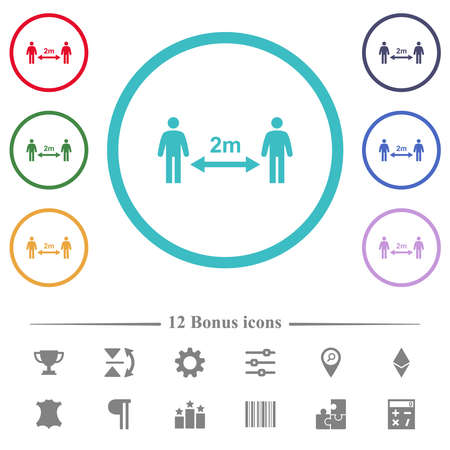Social distancing 2 meters flat color icons in circle shape outlines. 12 bonus icons included. Ilustrace