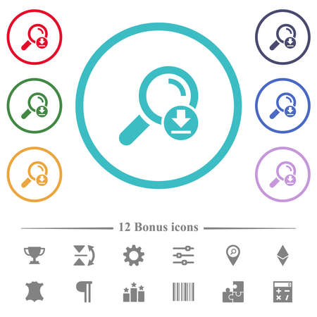 Download search results flat color icons in circle shape outlines. 12 bonus icons included.