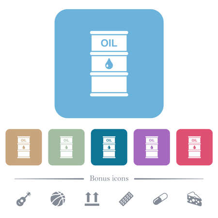 Oil barrel white flat icons on color rounded square backgrounds. 6 bonus icons included