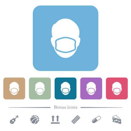 Face with medical mask white flat icons on color rounded square backgrounds. 6 bonus icons included