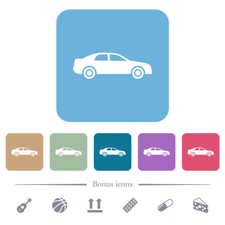 Car white flat icons on color rounded square backgrounds. 6 bonus icons included