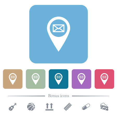 Address of GPS map location white flat icons on color rounded square backgrounds. 6 bonus icons included