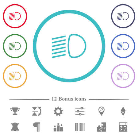 Dipped beam lights flat color icons in circle shape outlines. 12 bonus icons included. Ilustrace
