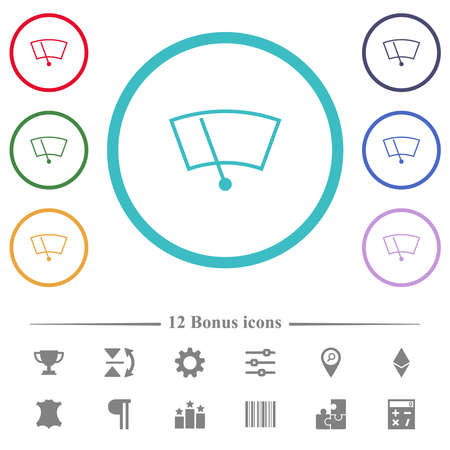 Windshield wiper flat color icons in circle shape outlines. 12 bonus icons included.