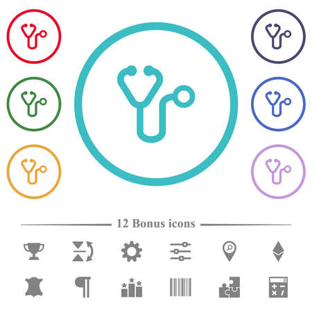 Stethoscope flat color icons in circle shape outlines. 12 bonus icons included.