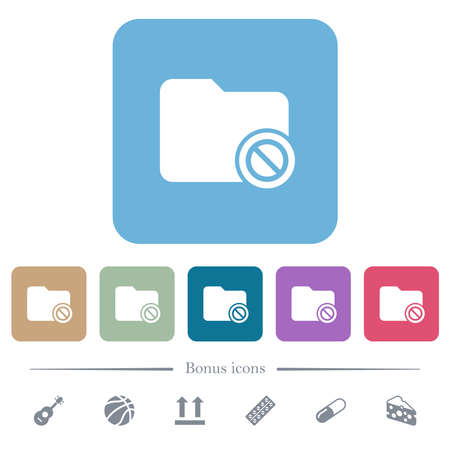 Disabled directory white flat icons on color rounded square backgrounds. 6 bonus icons included