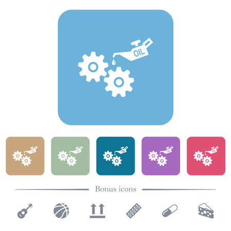 Oiler can and gears white flat icons on color rounded square backgrounds. 6 bonus icons included