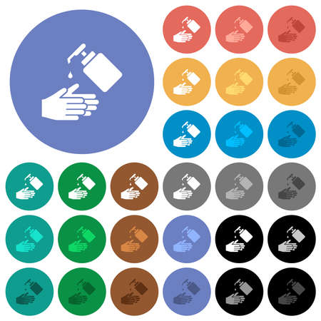 Hand washing with liquid soap multi colored flat icons on round backgrounds. Includes white, light and dark icon variations for hover and active status effects, and bonus shades. Ilustrace
