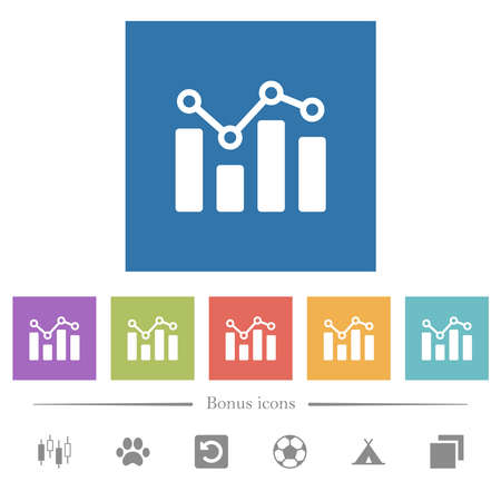 Bar graph with circles and lines flat white icons in square backgrounds. 6 bonus icons included. Ilustrace