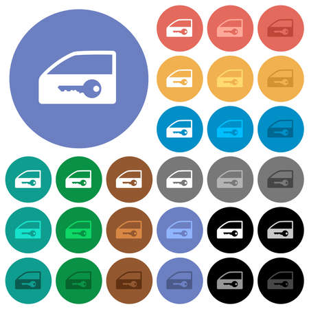 Car door lock multi colored flat icons on round backgrounds. Includes white, light and dark icon variations for hover and active status effects, and bonus shades. Ilustrace