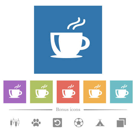 Cappuccino flat white icons in square backgrounds. 6 bonus icons included.