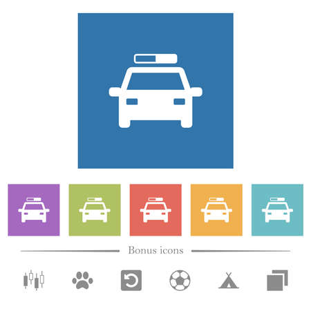 Police car flat white icons in square backgrounds. 6 bonus icons included.