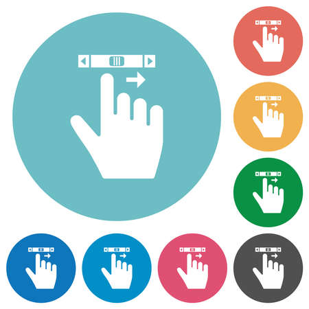 right handed scroll right gesture flat white icons on round color backgrounds