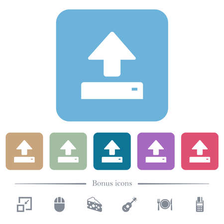 Open white flat icons on color rounded square backgrounds. 6 bonus icons included