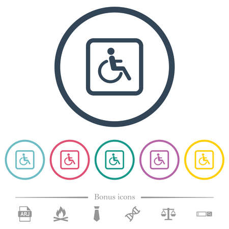 Handicapped parking flat color icons in round outlines. 6 bonus icons included.