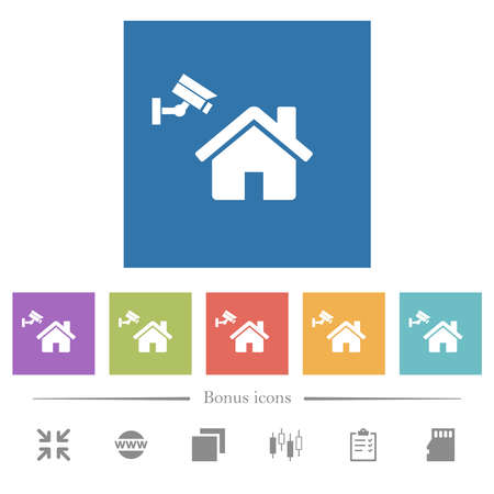 Home security flat white icons in square backgrounds. 6 bonus icons included.