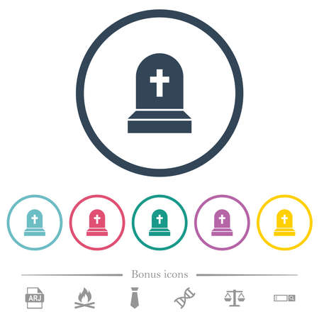 Tombstone with cross flat color icons in round outlines. 6 bonus icons included.