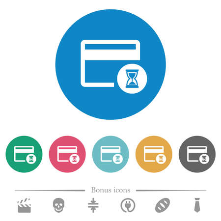 Credit card operation in progress flat white icons on round color backgrounds. 6 bonus icons included.