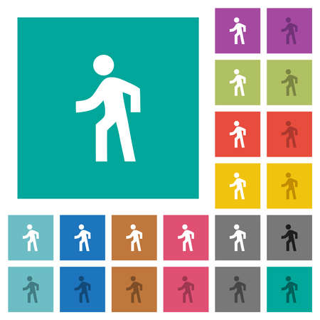 Man walking left multi colored flat icons on plain square backgrounds. Included white and darker icon variations for hover or active effects.