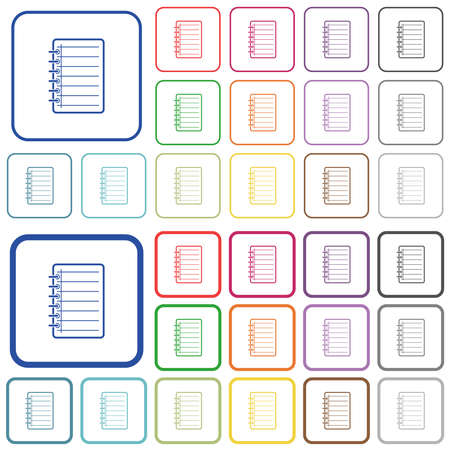 Notepad color flat icons in rounded square frames. Thin and thick versions included.