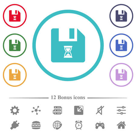 File waiting flat color icons in circle shape outlines. 12 bonus icons included. Ilustrace