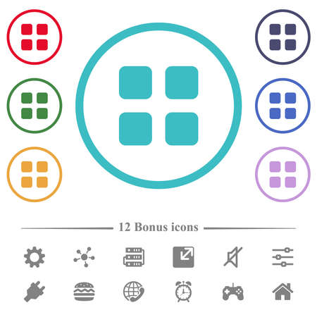 Grid button flat color icons in circle shape outlines. 12 bonus icons included.