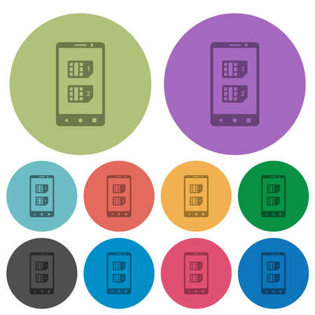 Dual SIM mobile darker flat icons on color round background Vettoriali