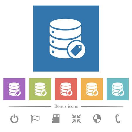 Database tag flat white icons in square backgrounds. 6 bonus icons included.