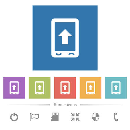 Mobile scroll up flat white icons in square backgrounds. 6 bonus icons included.