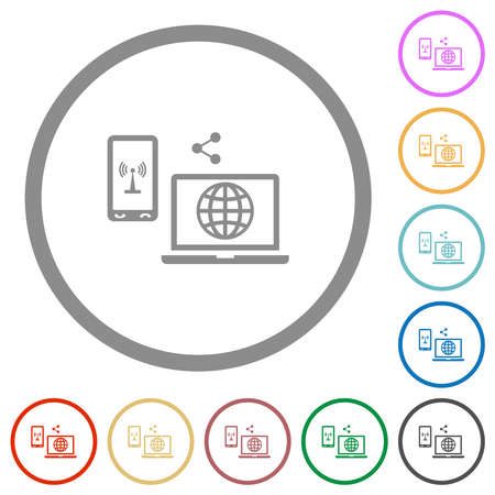 Share mobile internet flat color icons in round outlines on white background 일러스트