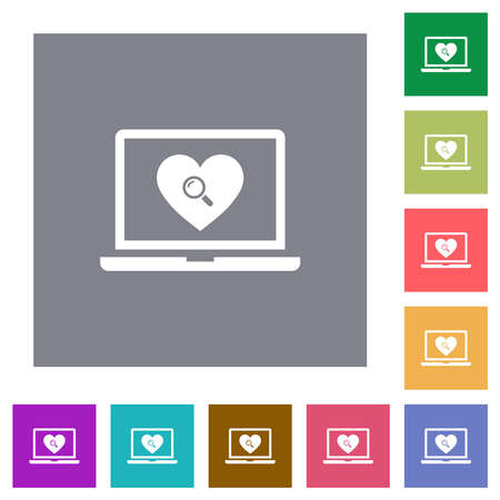 Online dating on laptop flat icons on simple color square backgrounds Vetores