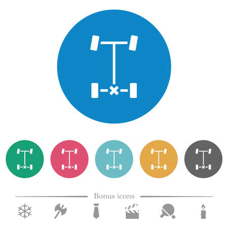 Rear differential lock flat white icons on round color backgrounds. 6 bonus icons included.