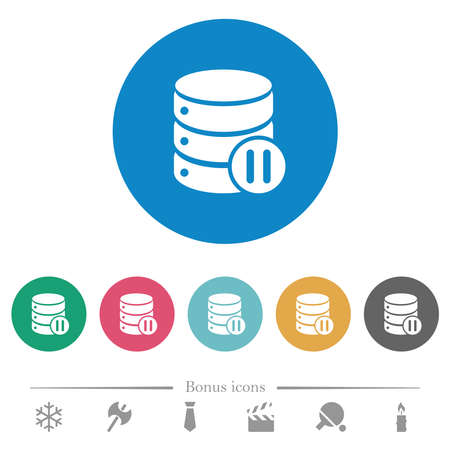 Database macro pause flat white icons on round color backgrounds. 6 bonus icons included.  イラスト・ベクター素材