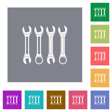 Set of wrenches flat icons on simple color square backgrounds
