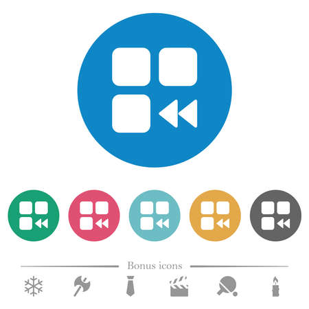 Component fast backward flat white icons on round color backgrounds. 6 bonus icons included.
