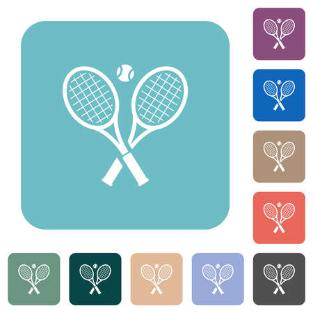 Tennis rackets with ball white flat icons on color rounded square backgrounds